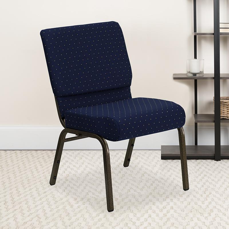 Blue Dot Fabric Church Chair FD-CH0221-4-GV-S0810-GG