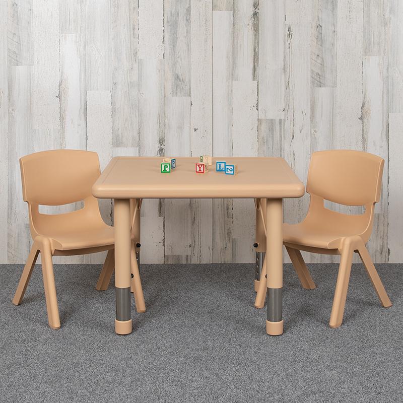 24SQ Natural Kids Table Set YU-YCX-0023-2-SQR-TBL-NAT-R-GG