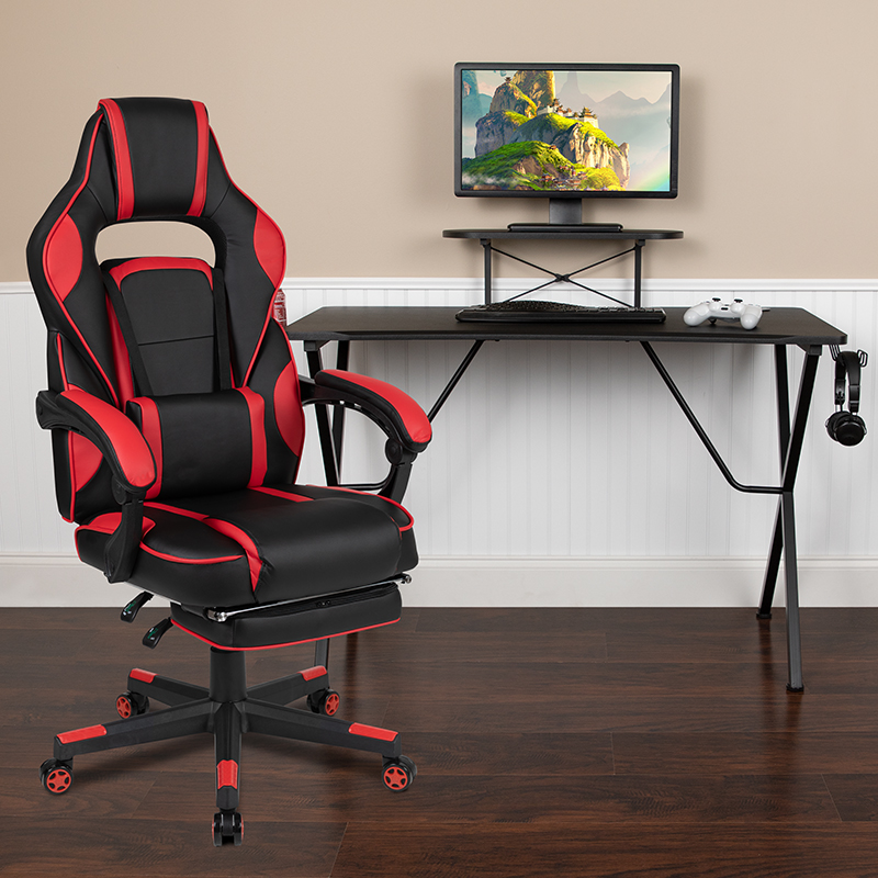 Black Gaming Desk with Cup Holder/Headphone Hook/Monitor Stand & Red Reclining Back/Arms Gaming Chair with Footrest  [BLN-X40RSG1031-RED-GG]