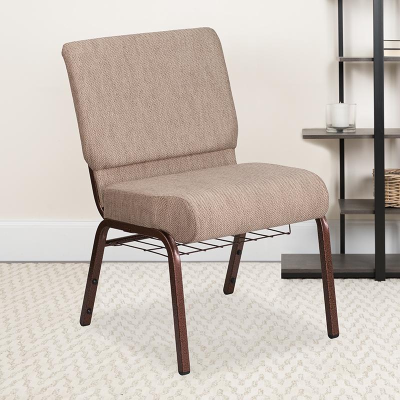 Beige Fabric Church Chair FD-CH0221-4-CV-BGE1-BAS-GG