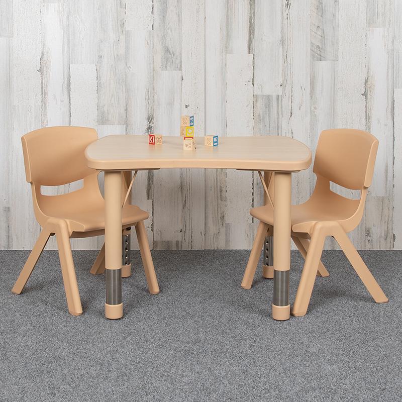 21x26 Natural Kids Table Set YU-YCY-098-0032-RECT-TBL-NAT-GG