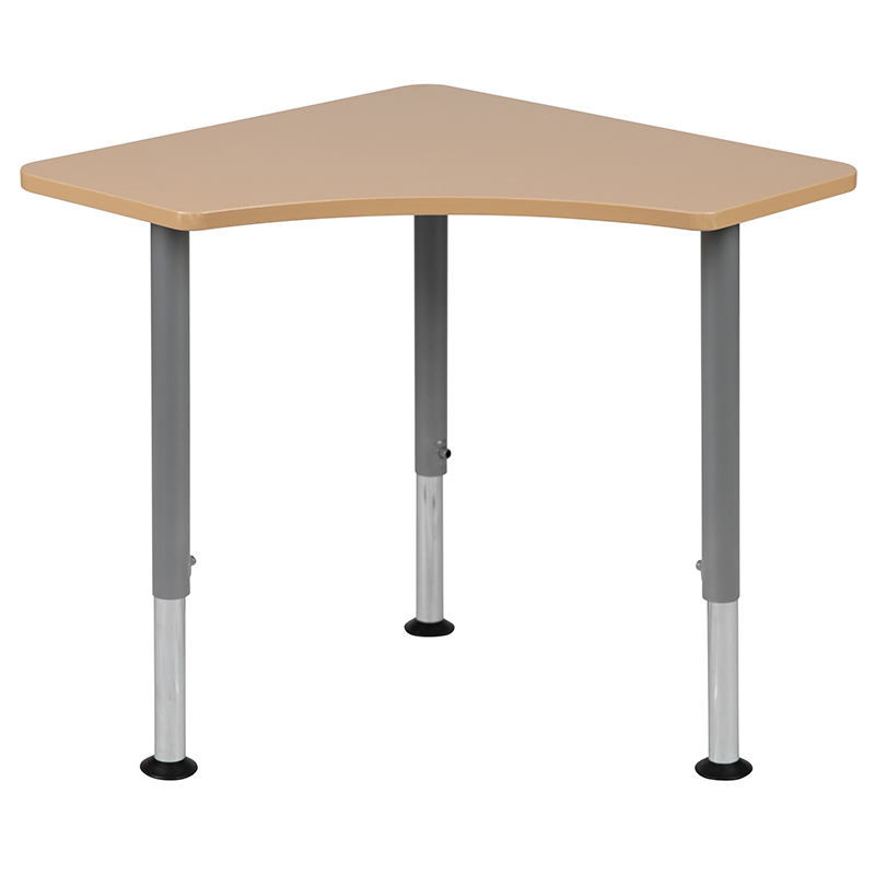 Triangular Natural Collaborative Student Desk (Adjustable from 22.3