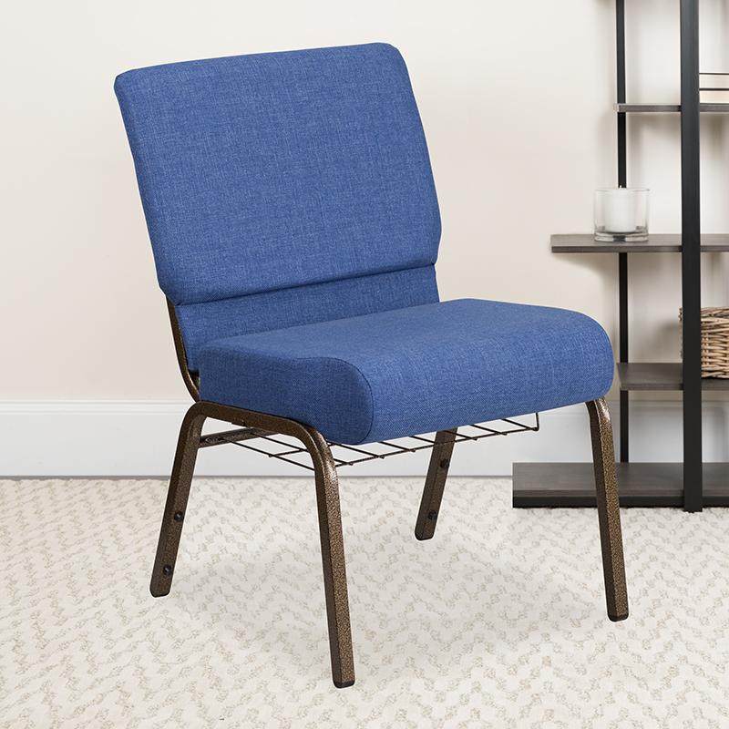 Blue Fabric Church Chair FD-CH0221-4-GV-BLUE-BAS-GG