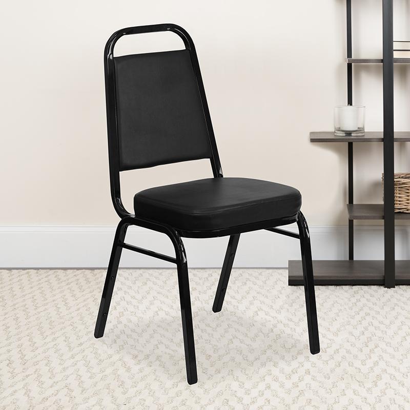 Black Vinyl Banquet Chair FD-BHF-1-GG