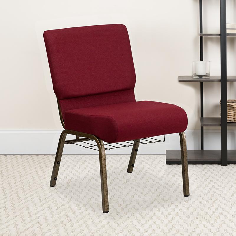 Burgundy Fabric Church Chair FD-CH0221-4-GV-3169-BAS-GG