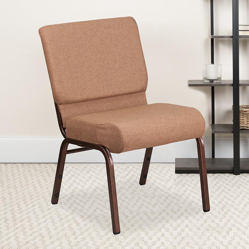 Caramel Fabric Church Chair FD-CH0221-4-CV-BN-GG
