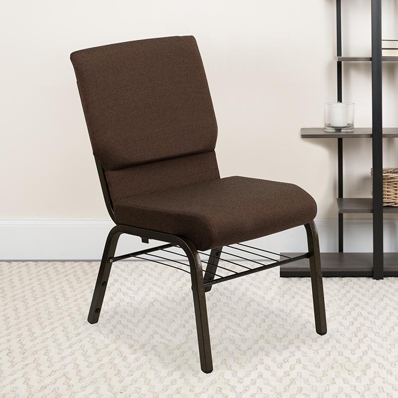 Brown Fabric Church Chair XU-CH-60096-BN-BAS-GG