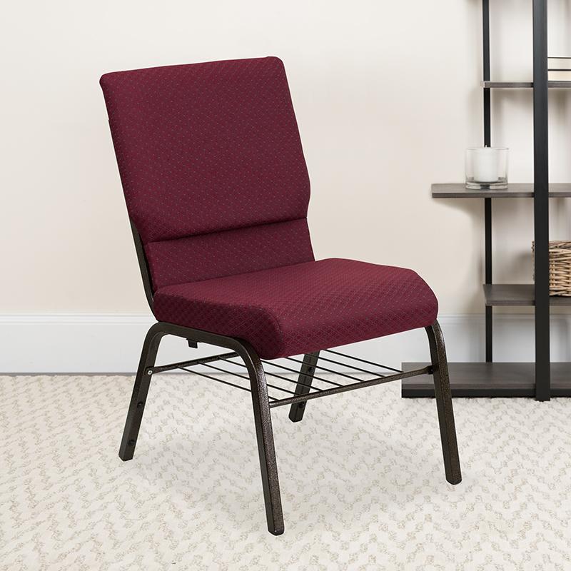 Burgundy Fabric Church Chair XU-CH-60096-BYXY56-BAS-GG