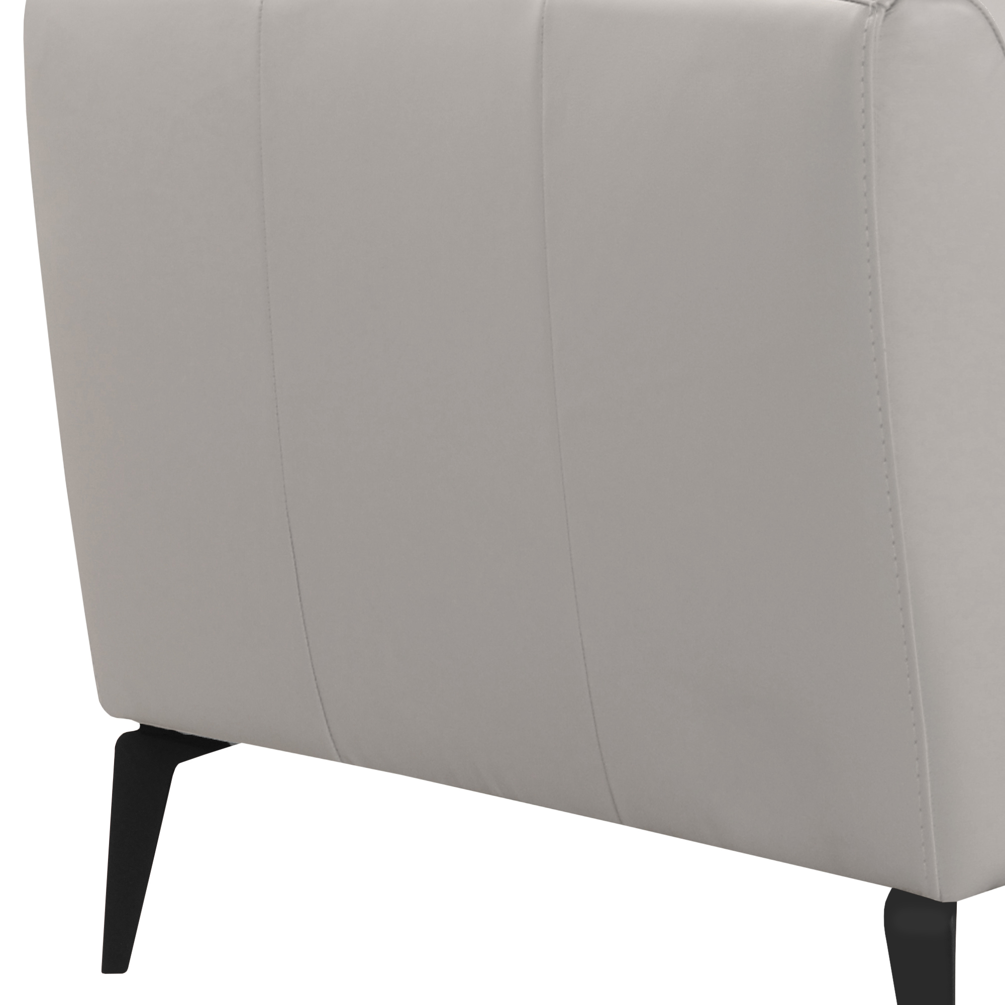 Armen Living Hope Contemporary Chair in Genuine Dove Grey Leather with Black Metal Legs