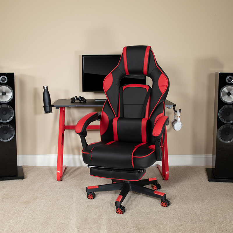 Red Gaming Desk with Cup Holder/Headphone Hook & Red Reclining Back/Arms Gaming Chair with Footrest [BLN-X40RSG1030-RED-GG]