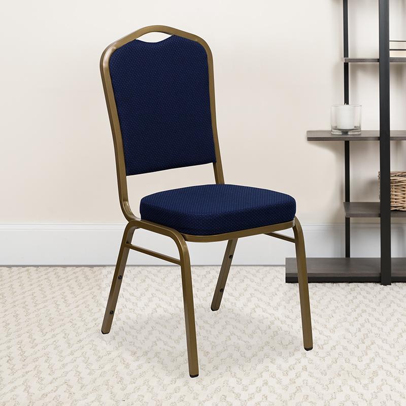 Navy Blue Fabric Banquet Chair FD-C01-ALLGOLD-2056-GG