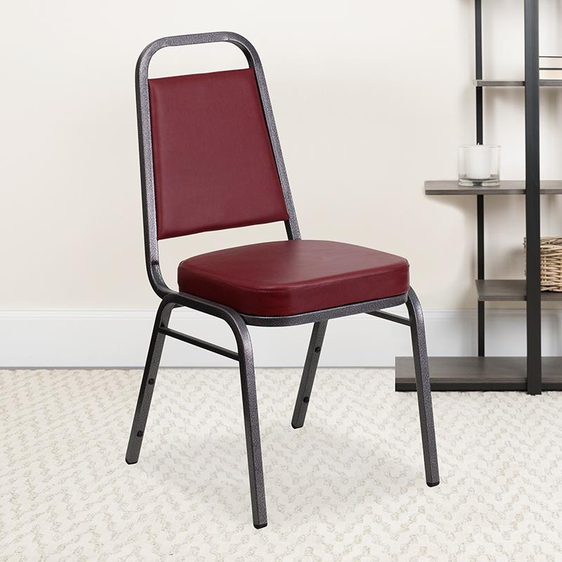 Burgundy Vinyl Banquet Chair FD-BHF-1-SILVERVEIN-BY-GG