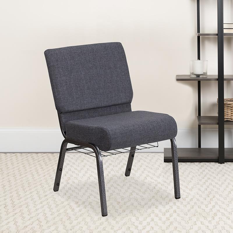 Dark Gray Fabric Church Chair FD-CH0221-4-SV-DKGY-BAS-GG