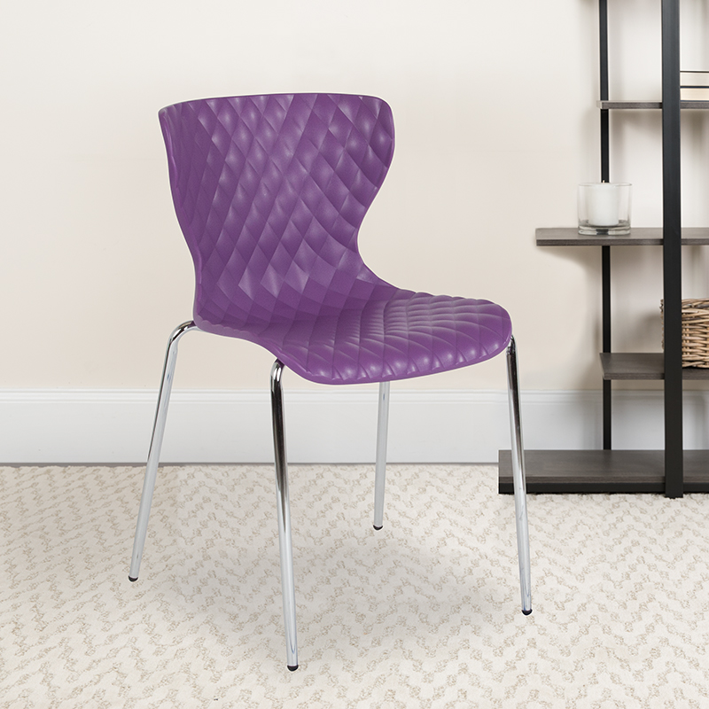 Purple Plastic Stack Chair LF-7-07C-PUR-GG