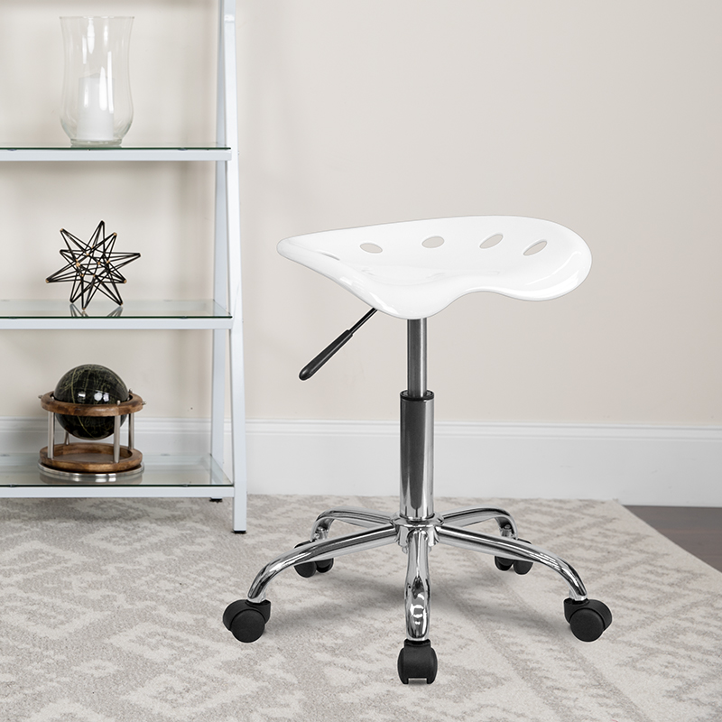 White Tractor Stool LF-214A-WHITE-GG