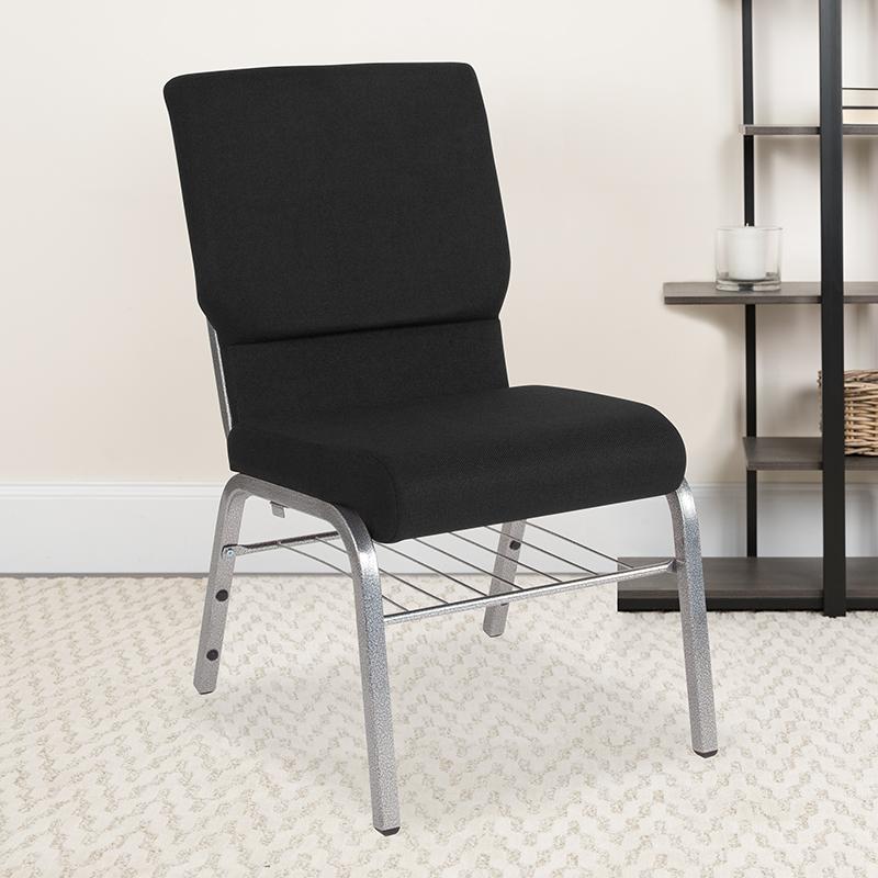 Black Fabric Church Chair XU-CH-60096-BK-SV-BAS-GG