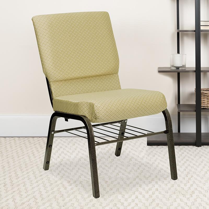 Beige Fabric Church Chair XU-CH-60096-BGE-BAS-GG
