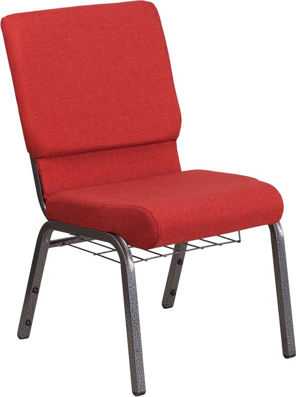 Red Fabric Church Chair FD-CH02185-SV-RED-BAS-GG