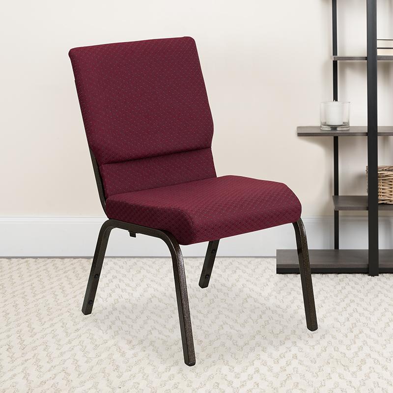 Burgundy Fabric Church Chair XU-CH-60096-BYXY56-GG