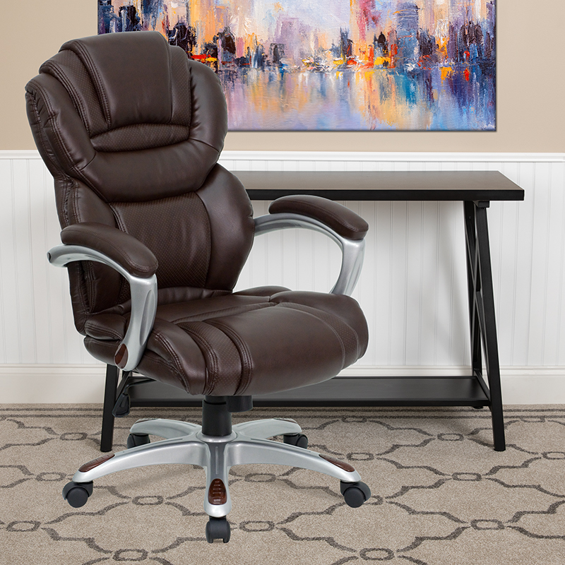 Brown High Back Leather Chair GO-901-BN-GG