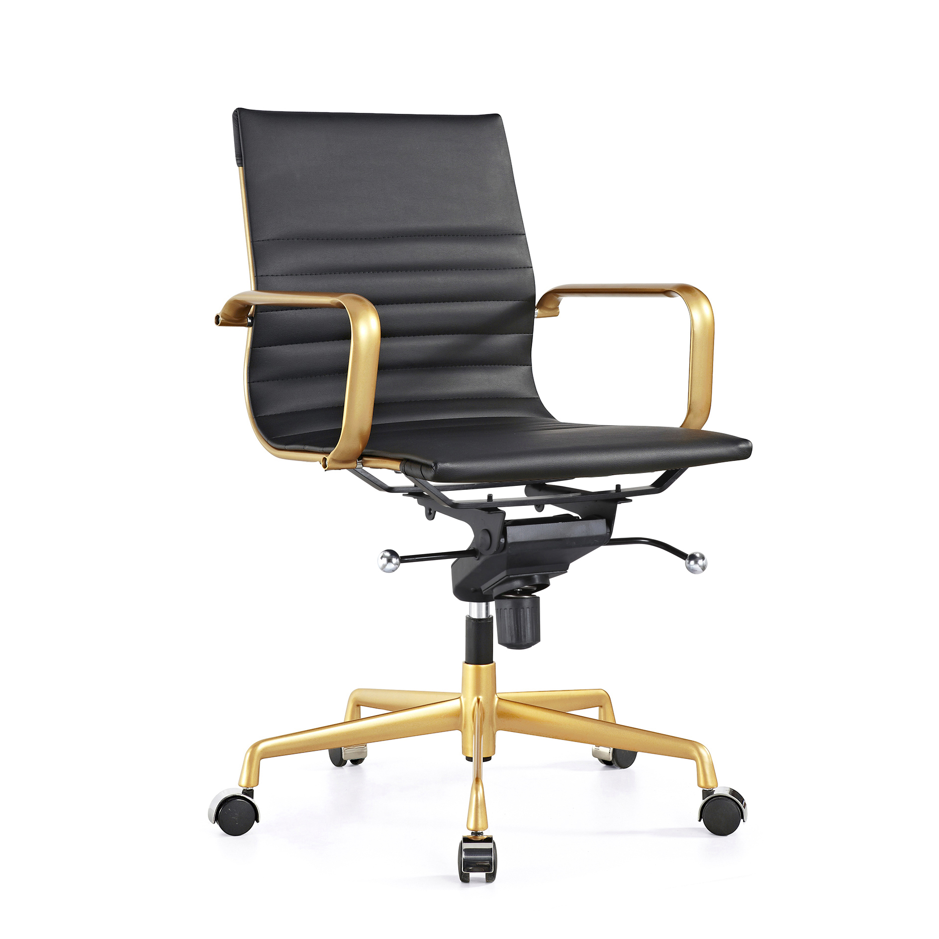 Design Lab MN LS-0009-BLKGLD Decade Black Gold Office Chair Set of 2