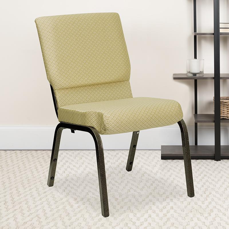Beige Fabric Church Chair XU-CH-60096-BGE-GG