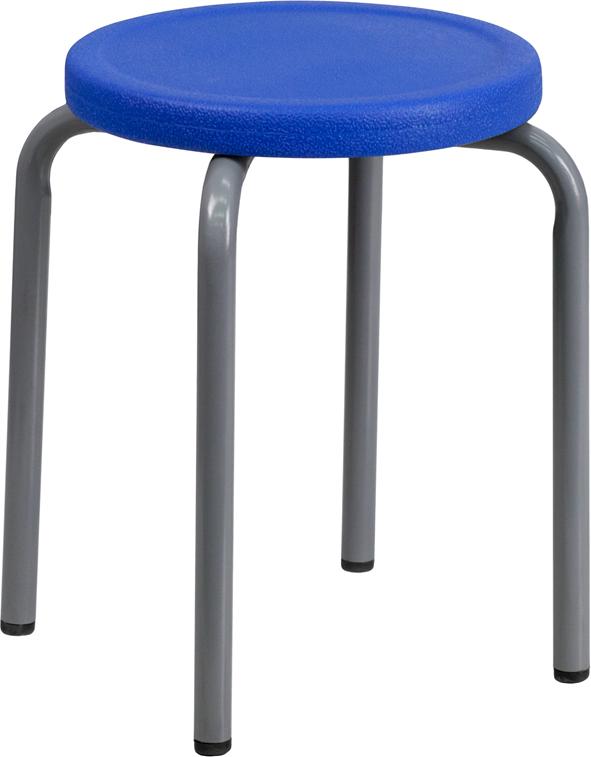 Blue Plastic Stack Stool YK01B-BL-GG