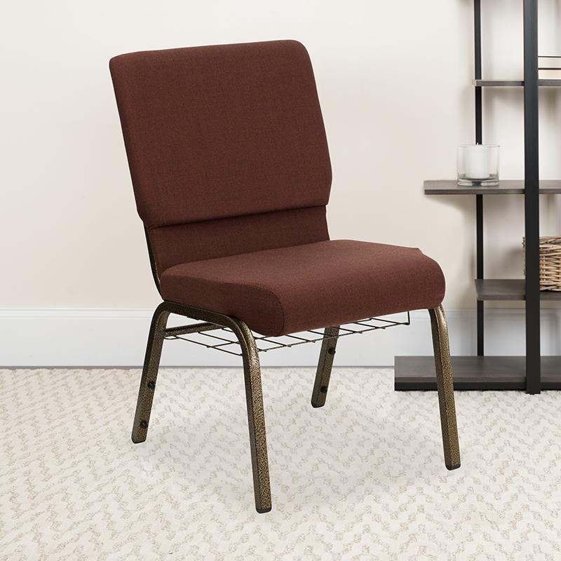 Brown Fabric Church Chair FD-CH02185-GV-10355-BAS-GG
