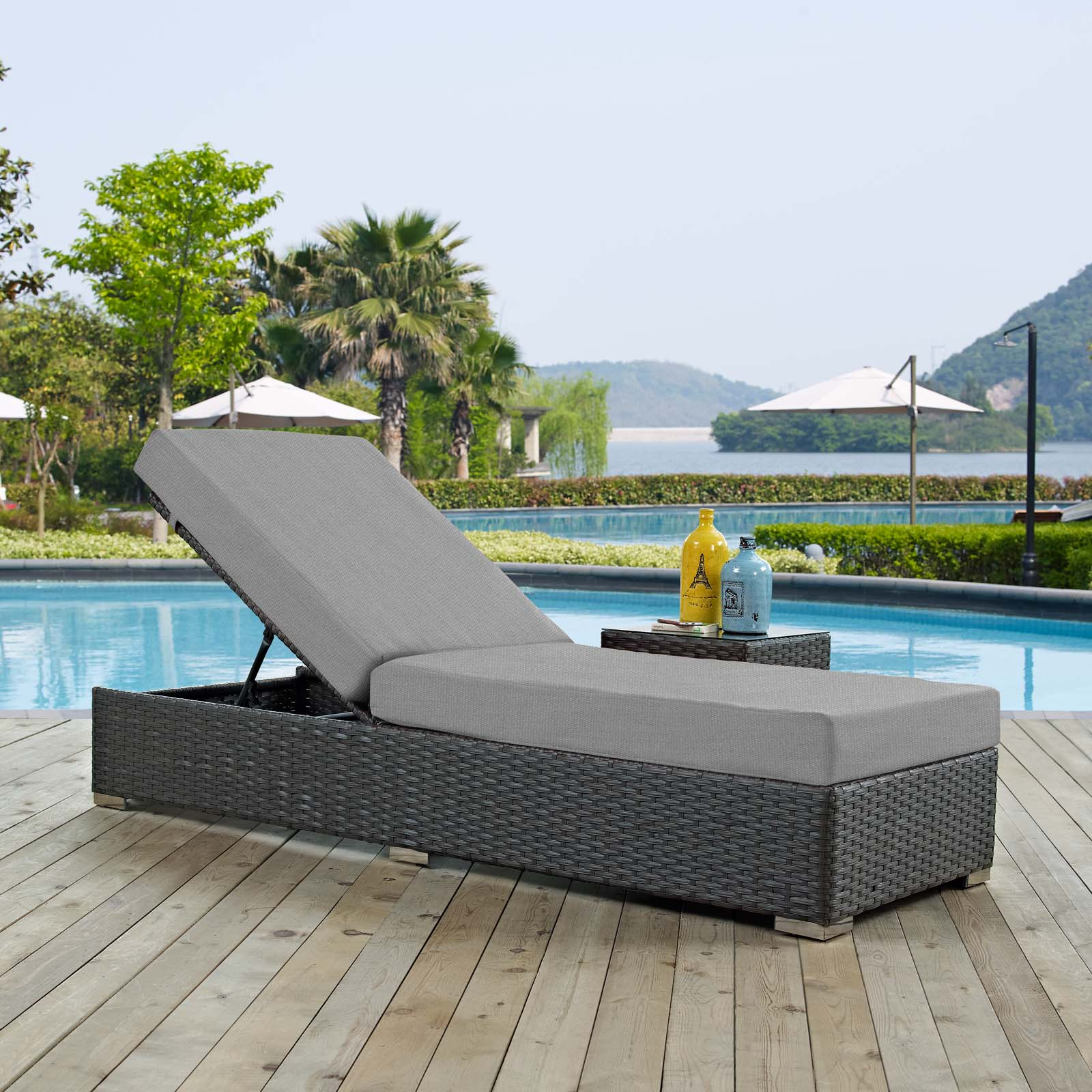 Sojourn Outdoor Patio Sunbrella Chaise Lounge Canvas Gray EEI-1862-CHC-GRY