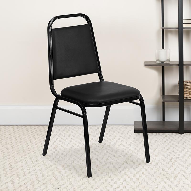 Black Vinyl Banquet Chair FD-BHF-2-GG