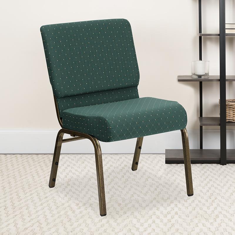 Green Dot Fabric Church Chair FD-CH0221-4-GV-S0808-GG