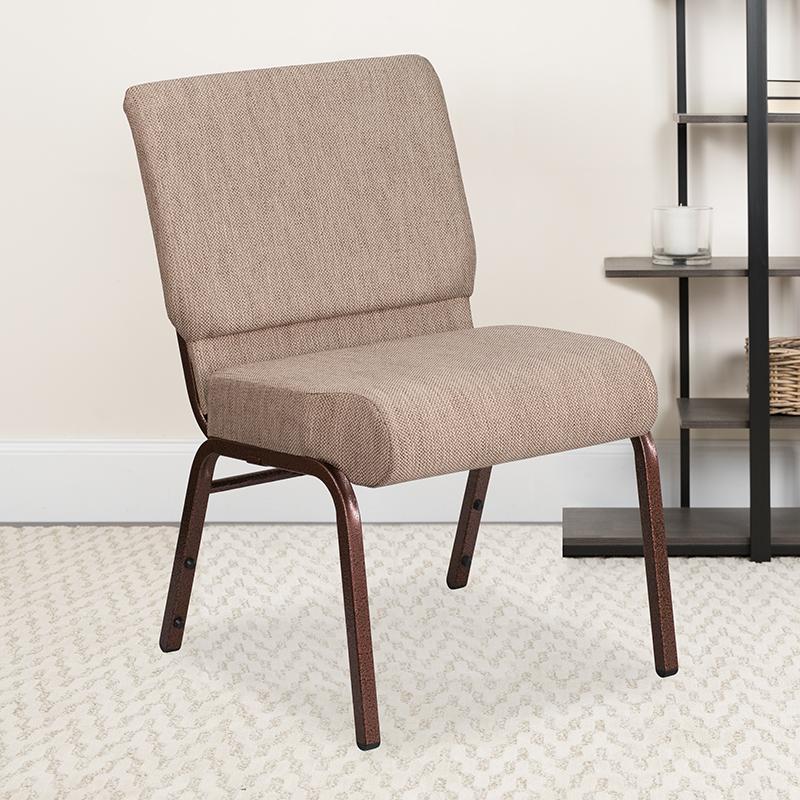 Beige Fabric Church Chair FD-CH0221-4-CV-BGE1-GG