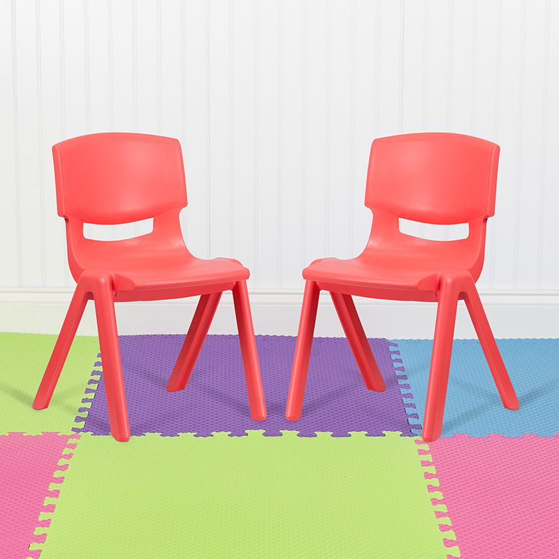 2PK Red Plastic Stack Chair 2-YU-YCX-005-RED-GG