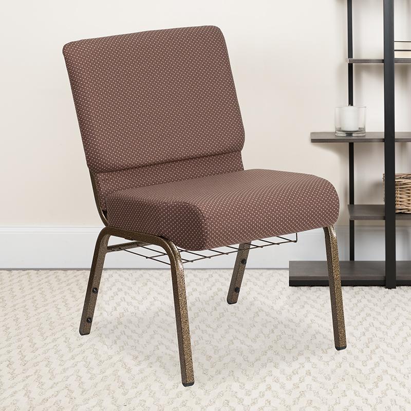 Brown Dot Fabric Church Chair FD-CH0221-4-GV-BNDOT-BAS-GG