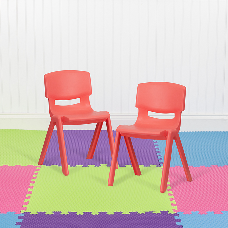 2PK Red Plastic Stack Chair 2-YU-YCX-004-RED-GG