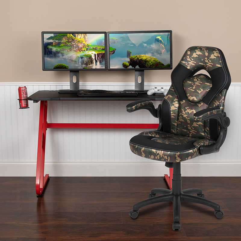 Red Gaming Desk and Chair Set BLN-X10RSG1030-CAM-GG