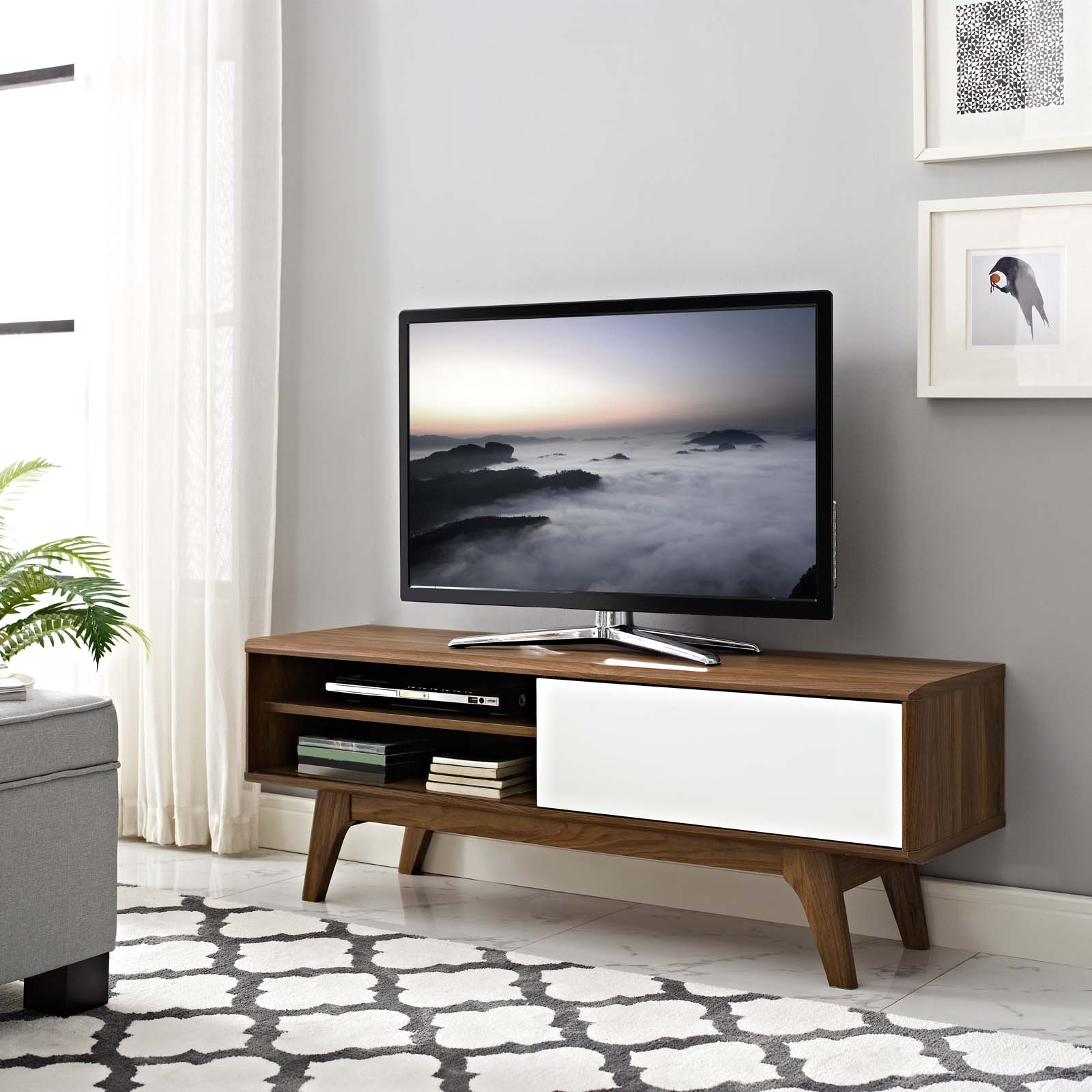 "Envision 48"" TV Stand Walnut White EEI-2538-WAL-WHI"