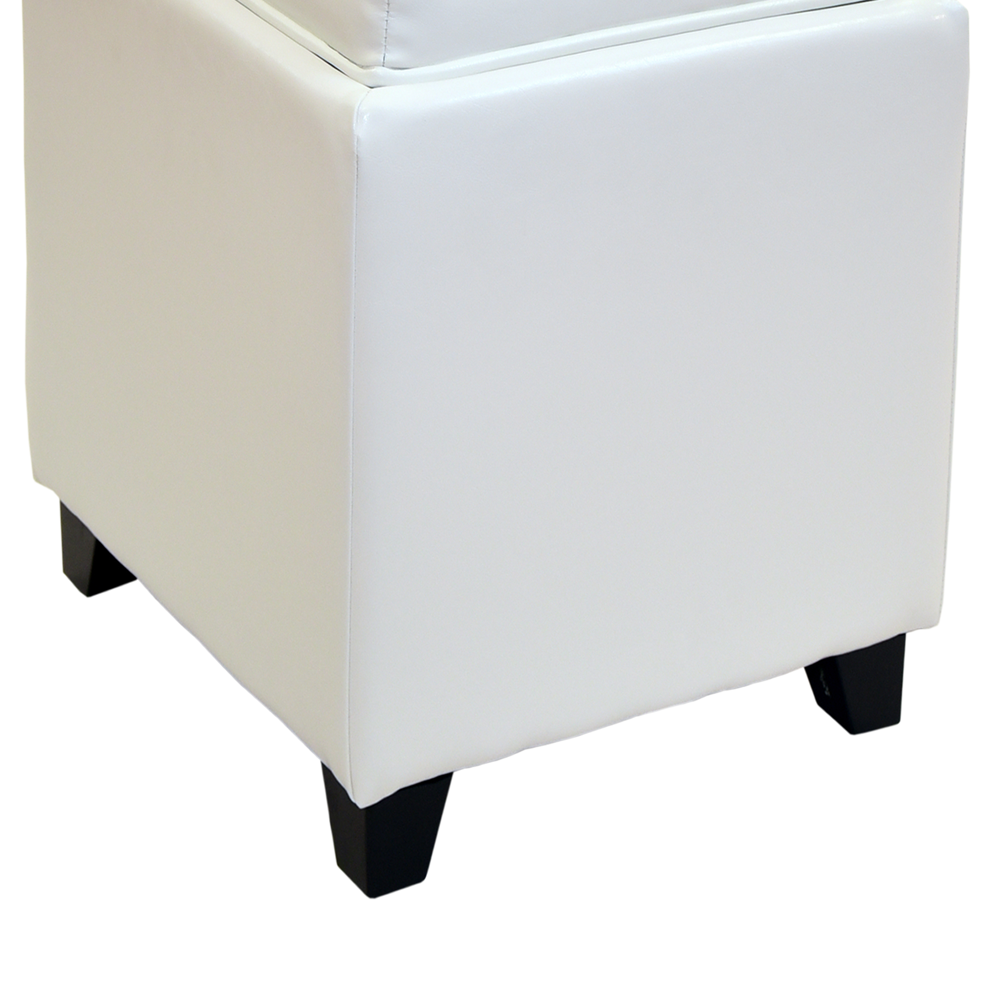 Armen Living Rainbow Contemporary Storage Ottoman With Tray in White Bonded Leather