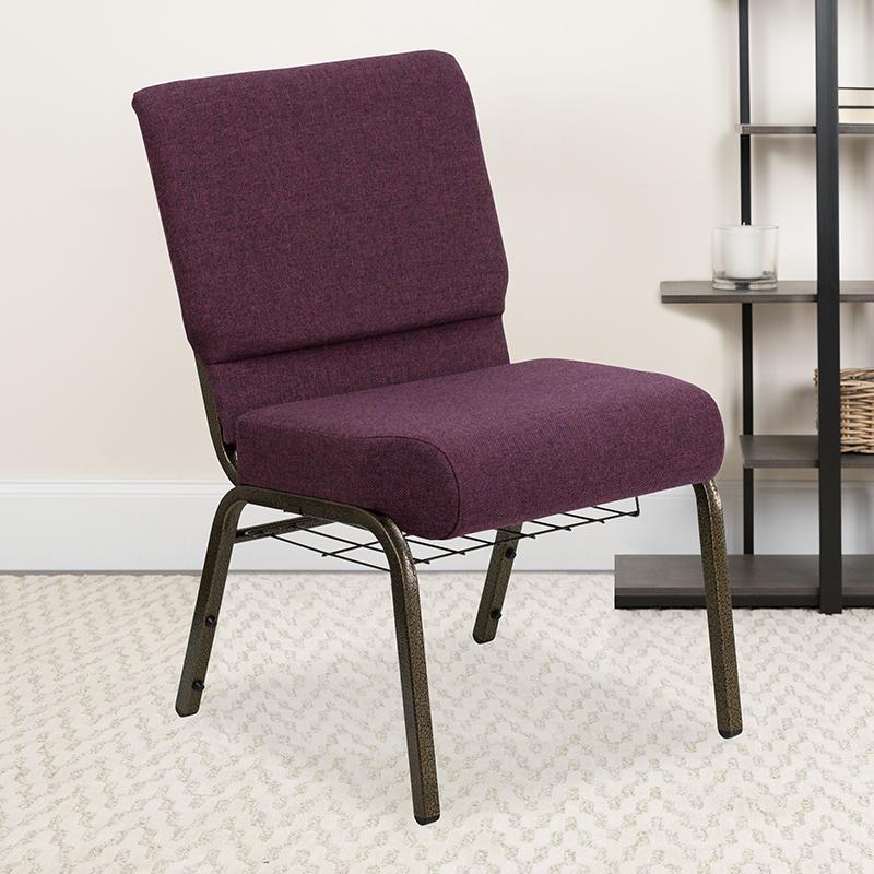Plum Fabric Church Chair FD-CH0221-4-GV-005-BAS-GG