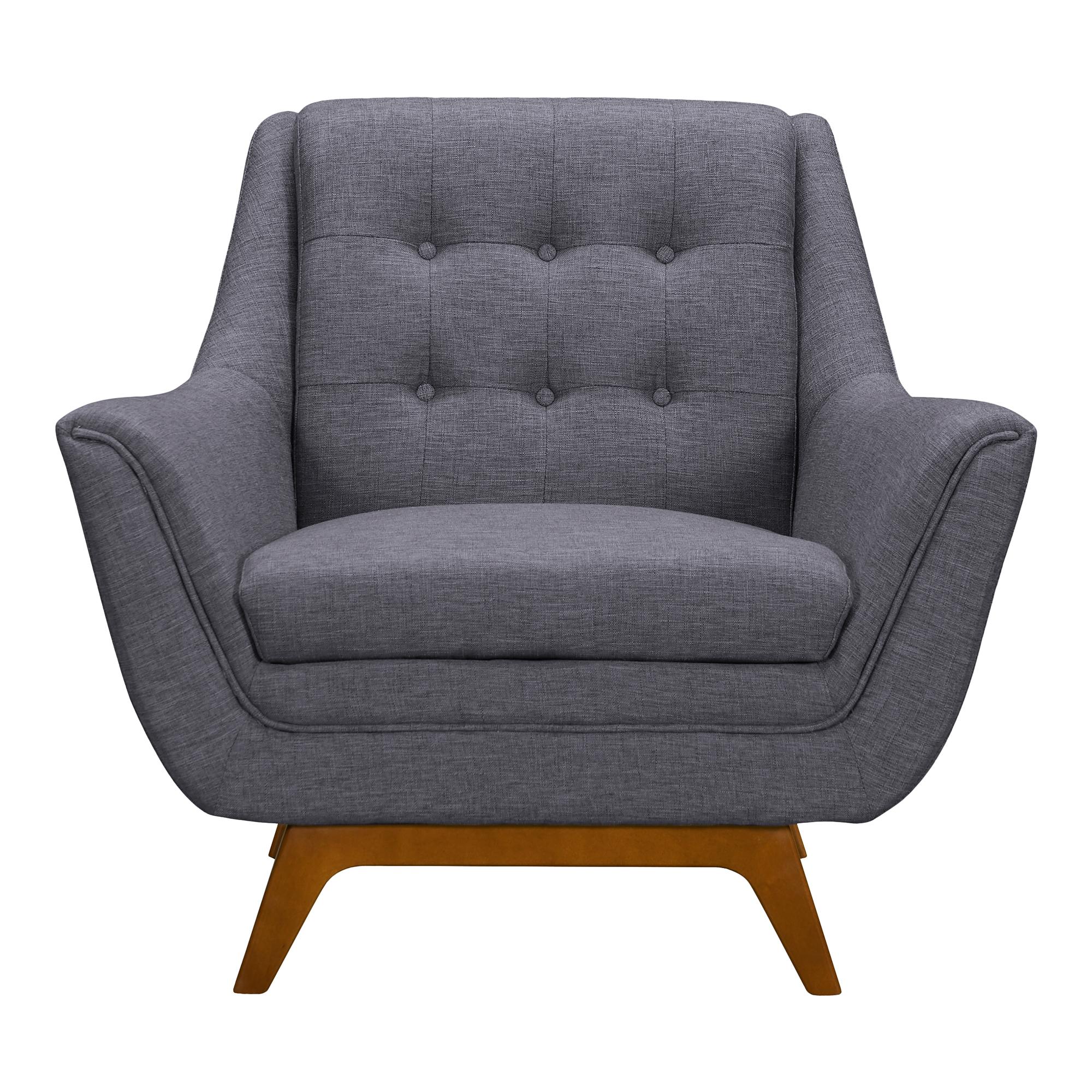 Janson Mid-Century Sofa Chair in Champagne WoodFinish and Dark Grey Fabric