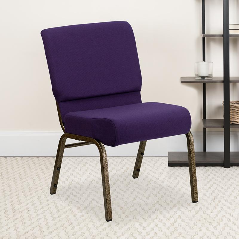 Purple Fabric Church Chair FD-CH0221-4-GV-ROY-GG