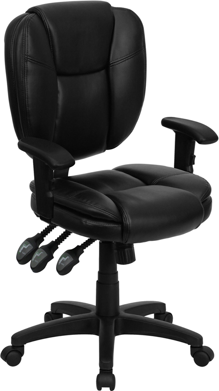Black Mid-Back Leather Chair GO-930F-BK-LEA-ARMS-GG