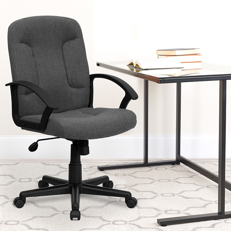 Gray Mid-Back Fabric Chair GO-ST-6-GY-GG