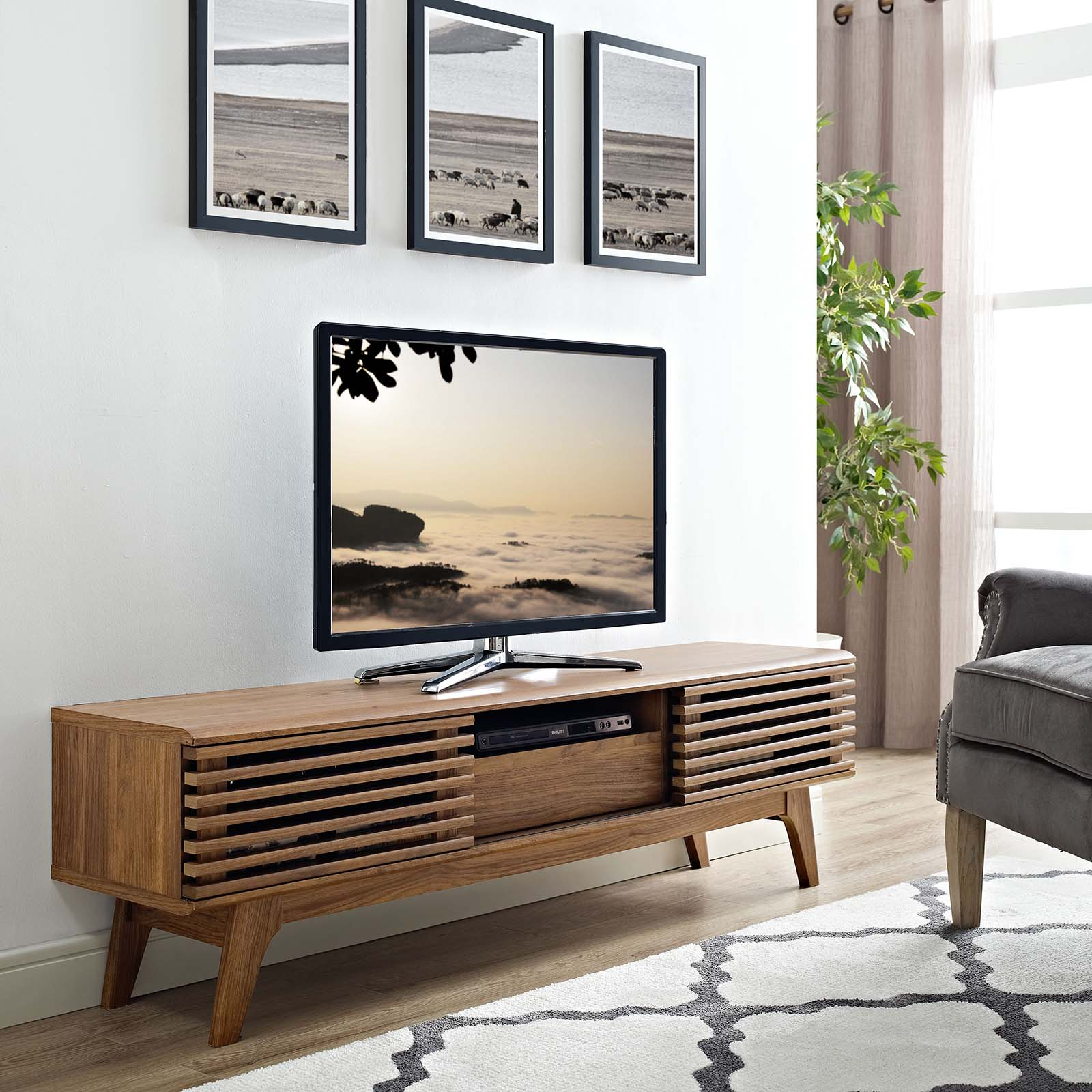 "Render 59"" TV Stand Walnut EEI-2541-WAL"