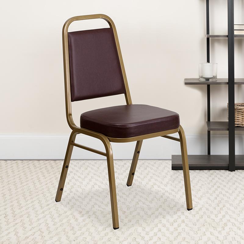 Brown Vinyl Banquet Chair FD-BHF-1-ALLGOLD-BN-GG