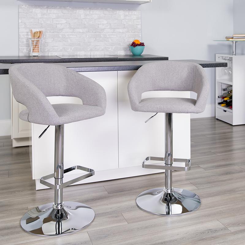 Gray Fabric Barstool CH-122070-GYFAB-GG