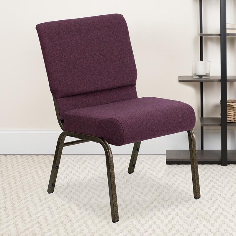 Plum Fabric Church Chair FD-CH0221-4-GV-005-GG