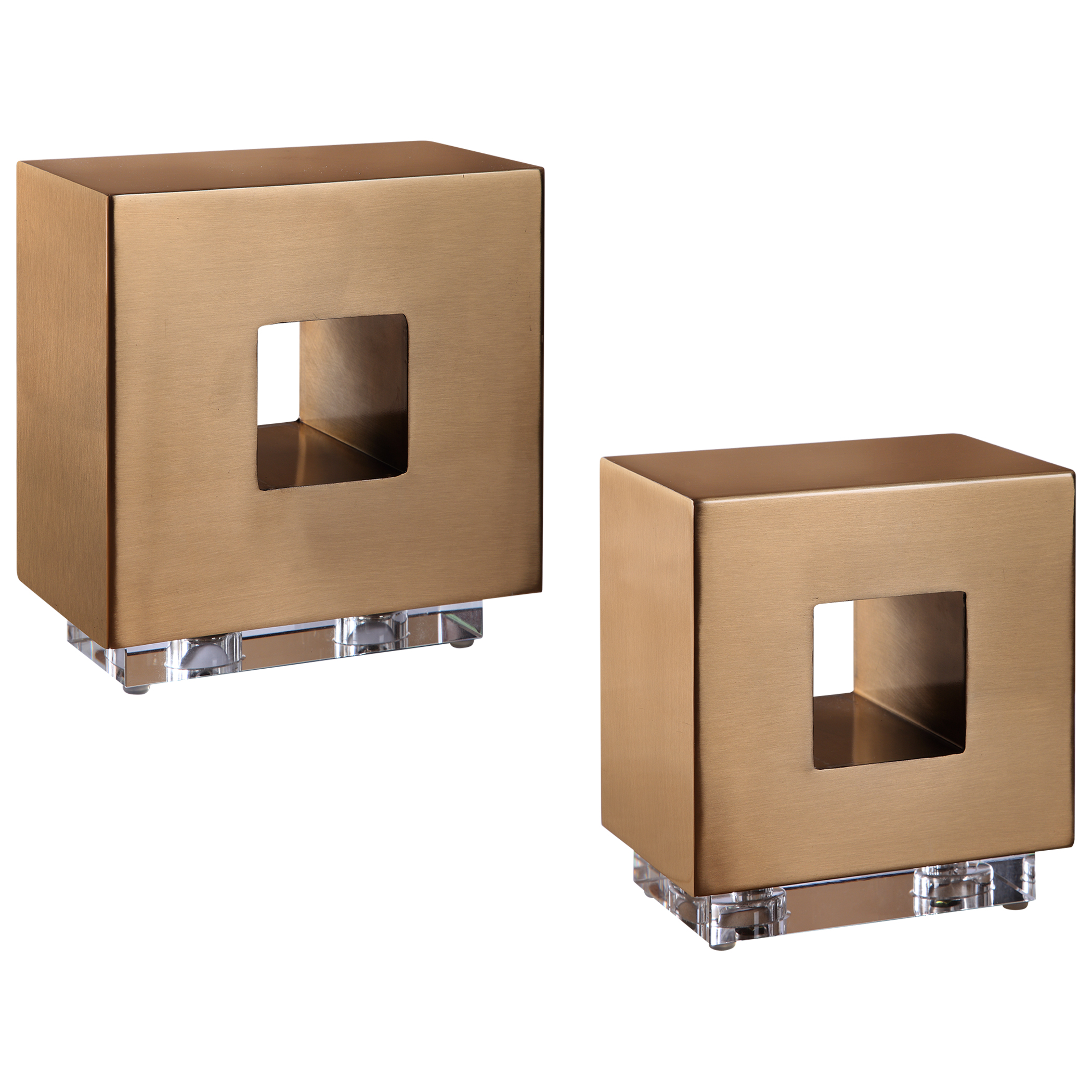 Uttermost Rooney Brass Cubes, S/2