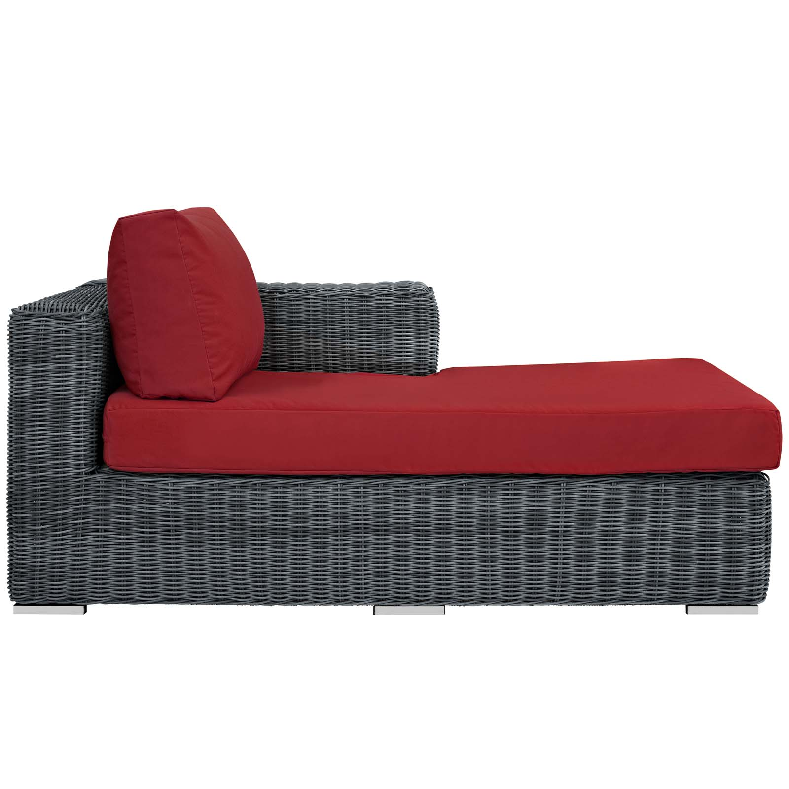 Summon Outdoor Patio Sunbrella Right Arm Chaise Canvas Red EEI-1873-GRY-RED