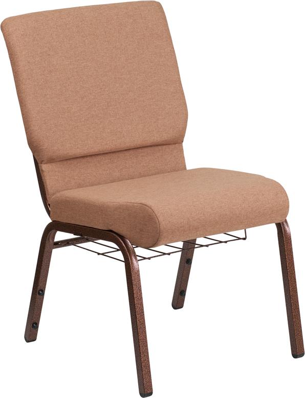 Caramel Fabric Church Chair FD-CH02185-CV-BN-BAS-GG